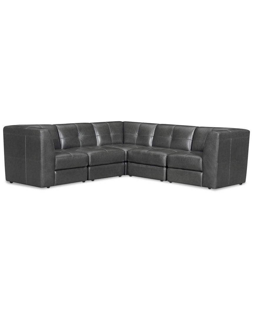 Fabrina 5 Pc Leather L Shaped Modular Sectional Sofas