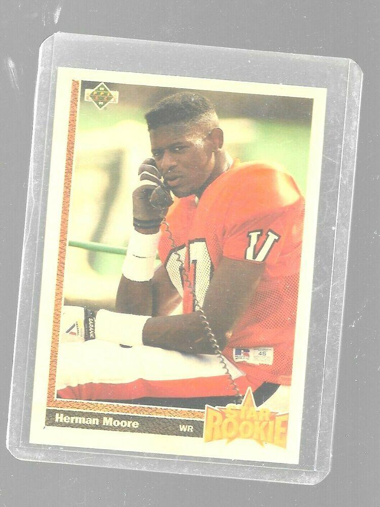 1991 upper deck herman moore 17 star rookie detroit lions