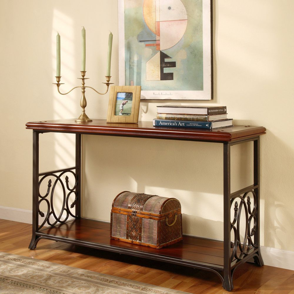 Scrolled metal and wood sofa table brown rustic feel metals scrolled metal and wood sofa table overstock geotapseo Choice Image