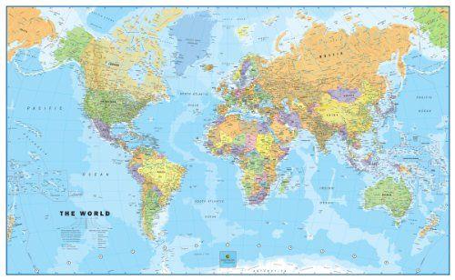 Giant World MegaMap Large Wall Map NonLaminated X Maps - Giant world map poster laminated