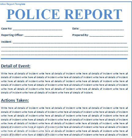 Police Report Template template Pinterest Template - free incident report template