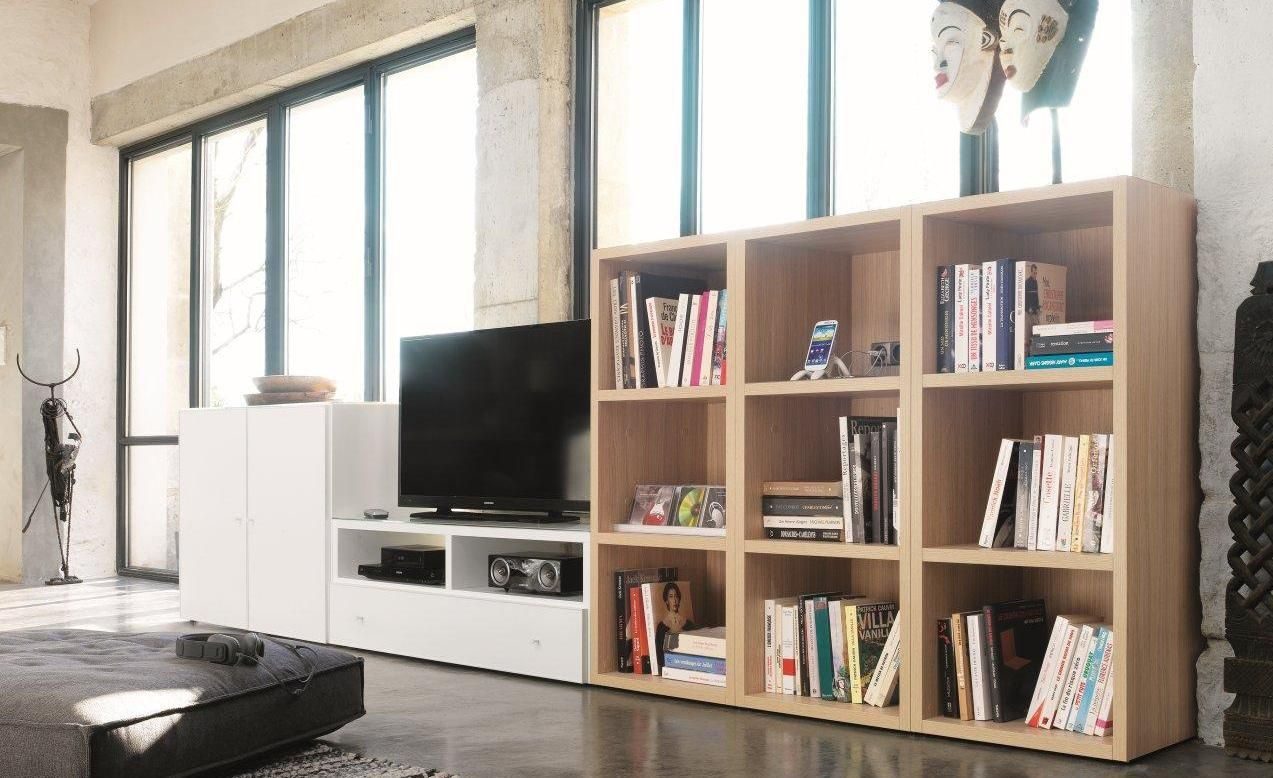 Biblioth Ques Composium Meubles C Lio Bois Clair Bois Brut  # Meubles Combines Bibliotheques Tv