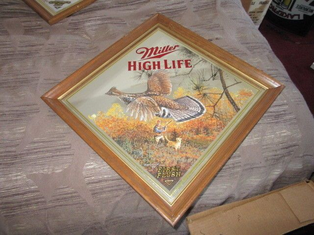 Miller High Life Beer Sign Wisconsin Grouse Wildlife Mirror Hunting Bar Pub L K
