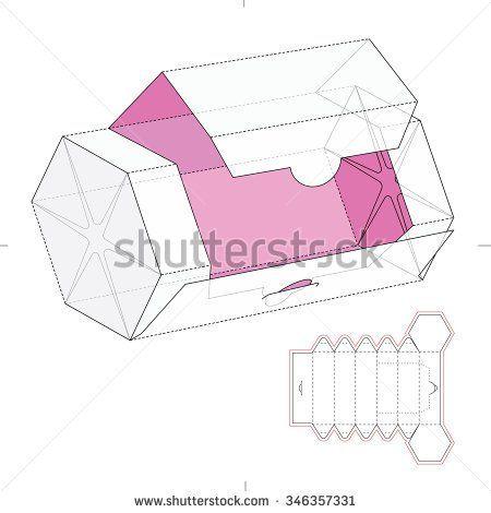 Hexagonal Dispenser Box With Cut Template