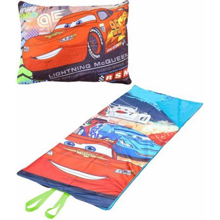 Disney Cars On-the-Go Pillow Convertible Slumber Nap Mat, Red