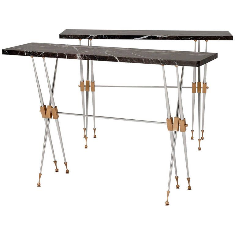 Pair Of Fine And Rare Marble Top Console Tables By Maison Leleu | From A