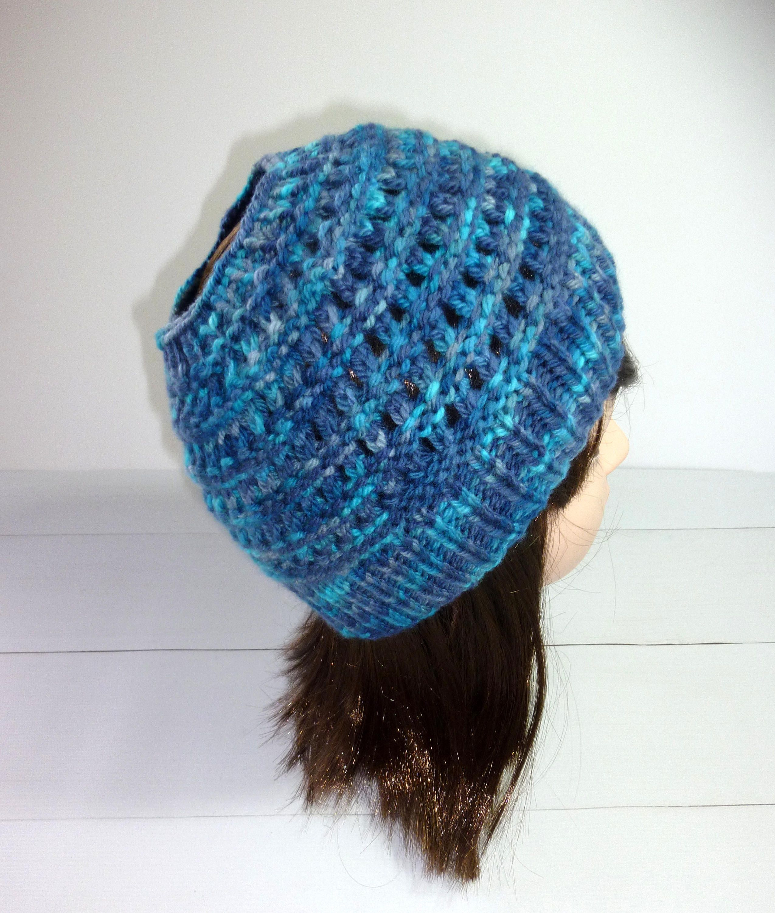36405994d15e5 Pony tail hat. Hand knit hat. Knitted Wool hat. Pure wool hat. Messy bun  beanie. ponytail beanie. Ladies knit hat. Blue hat. by Thingswelike2knit on  Etsy