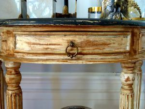 Heavily distressed console table draw