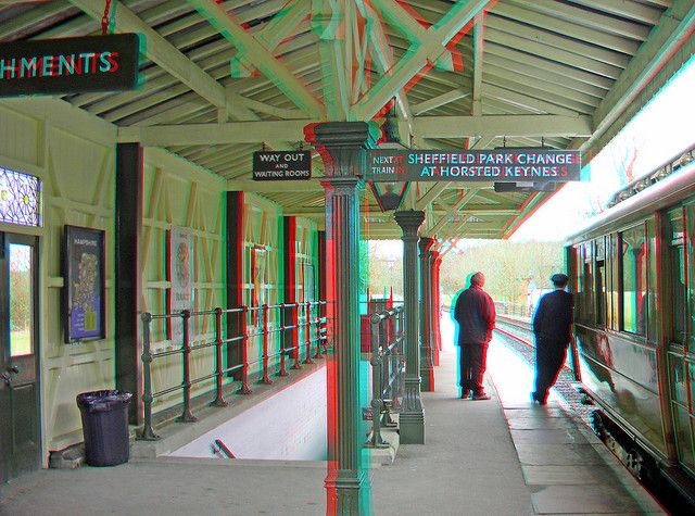 Kingscote railway station platform 3D anaglyph red blue (or cyan ) glasses to view | Flickr - Photo Sharing!