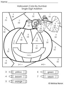 Halloween Color By Number Addition By Melissa S Place Tpt