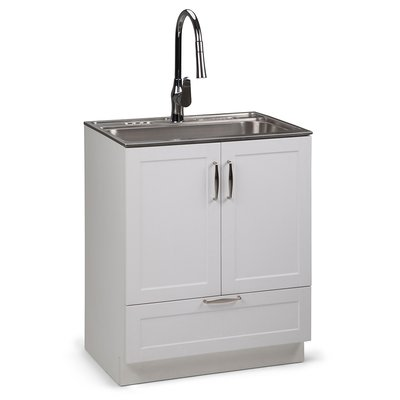Darby Home Co White Bostick 28 X 19 Freestanding Laundry Sink With Faucet Wayfair In 2020 Laundry Cabinets Laundry Room Utility Sink Utility Sink