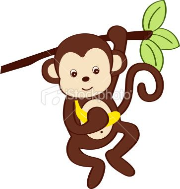 Adorable Monkey Swinging From Tree Branch With Banana