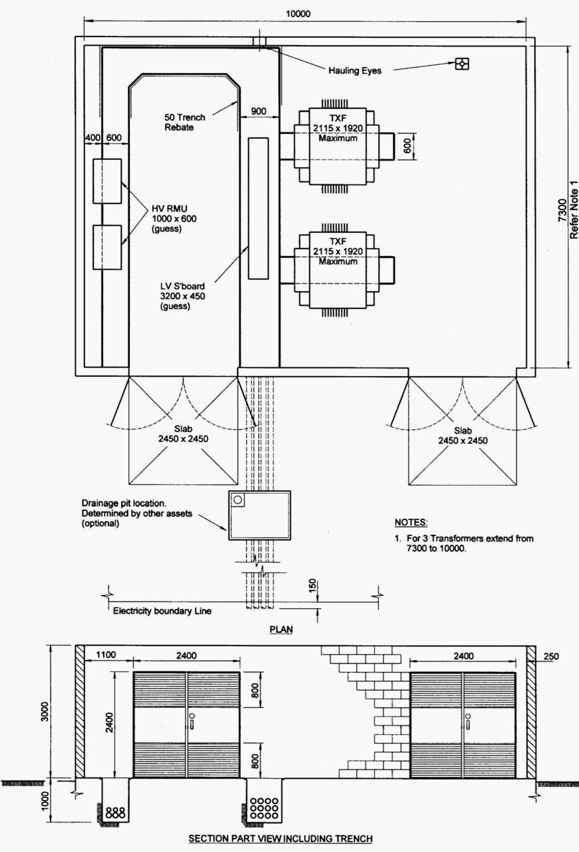 Indoor distribution substation layout with 2 transformers