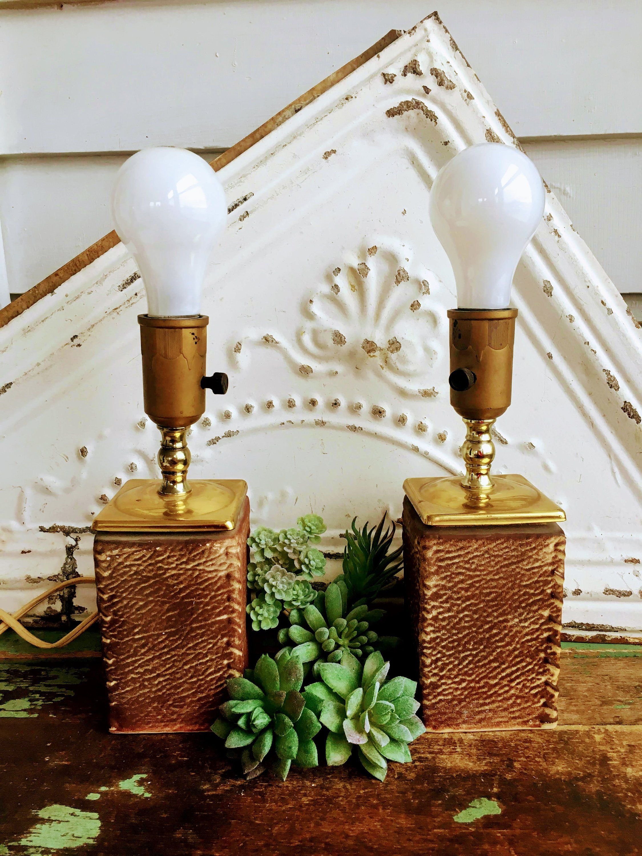 Vintage Pair Small Mid Century Bedside Lamps Ceramic Leather Wood Look Br By Holliezhobbiez On Etsy