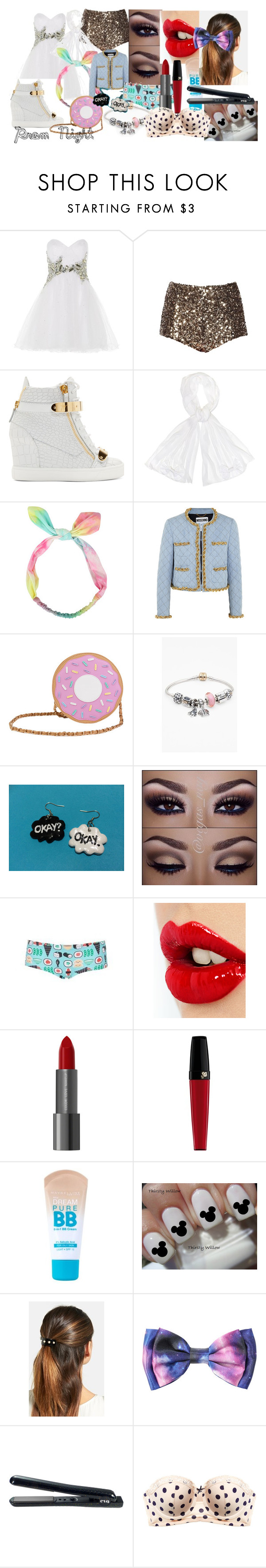 """Prom Night"" by rosie443 on Polyvore featuring Anoushka G, French Connection, Giuseppe Zanotti, Betsey Johnson, Moschino, Nila Anthony, Pandora, Topshop, Charlotte Tilbury and Lancôme"