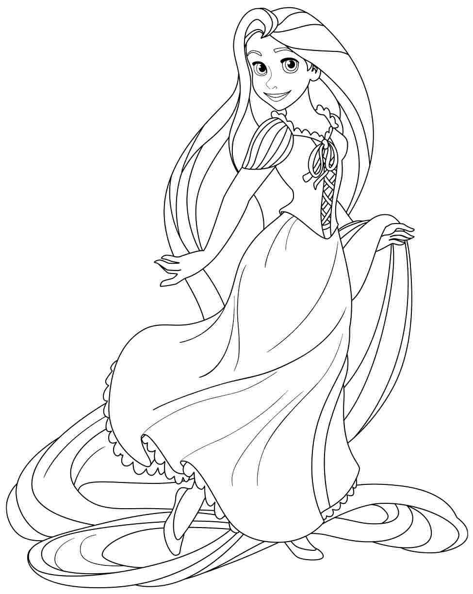 Disney princess birthday coloring pages - Free Printable Disney Princess Rapunzel Coloring Pages For Preschool 20584