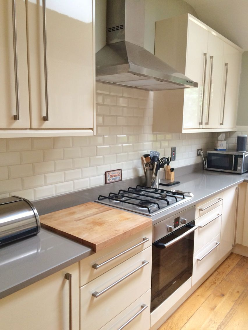 Ivory Gloss Cabinets Beveled Ivory Subway Tiles And Coffee Italian