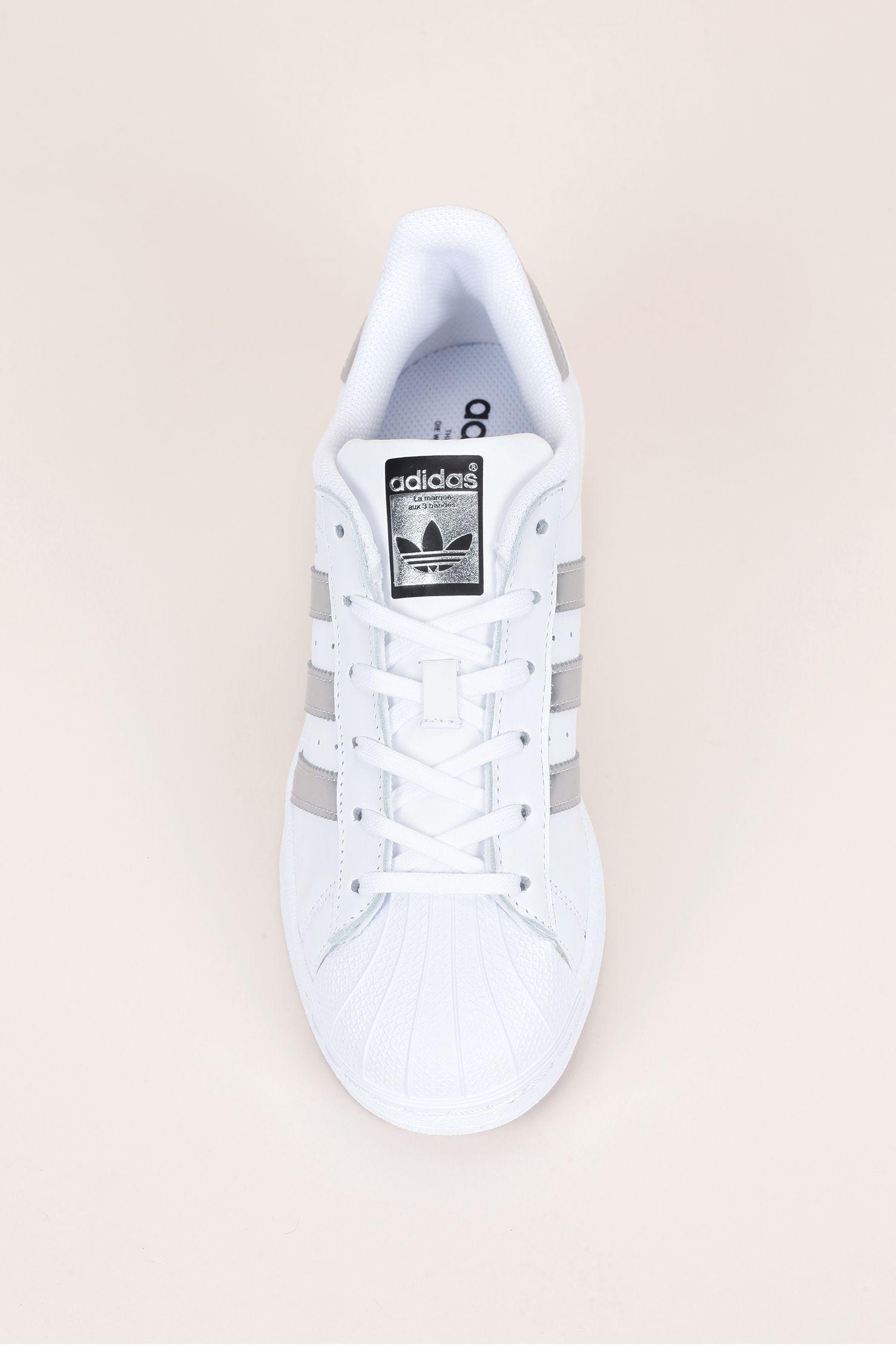 Adidas Originals Sneakers en cuir blanc talonbandes noir