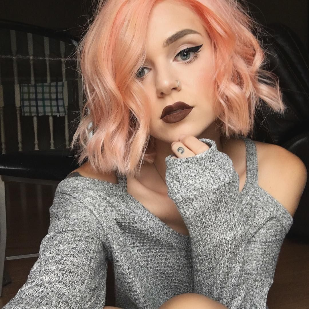 Peach color lipstick and hair 76