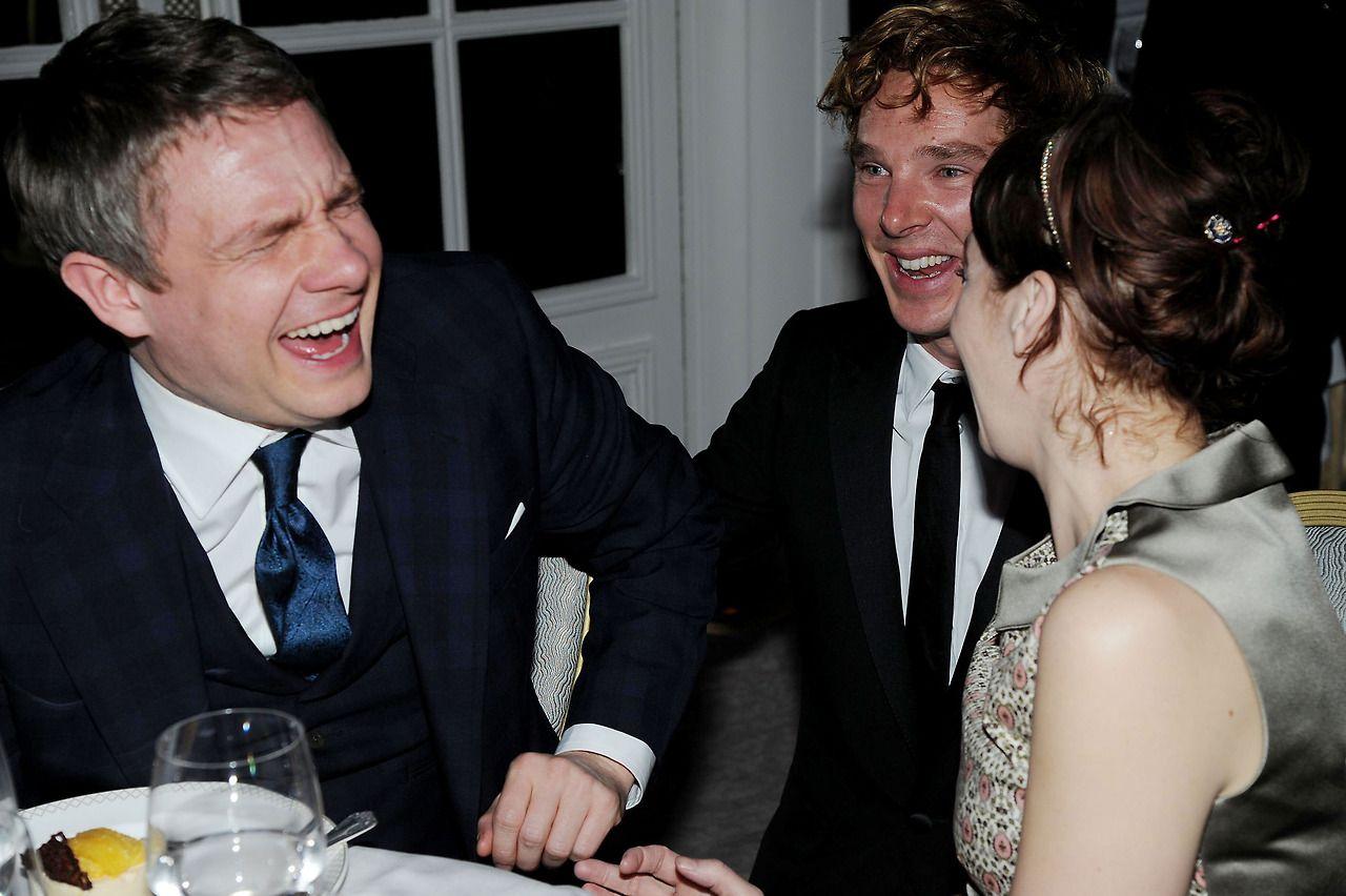 Benedict Cumberbatch, Martin Freeman and Amanda Abbington