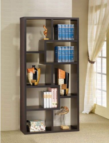 Contemporary Bookcase With Ten Shelves Home Office Furniture Cappuccino Finish