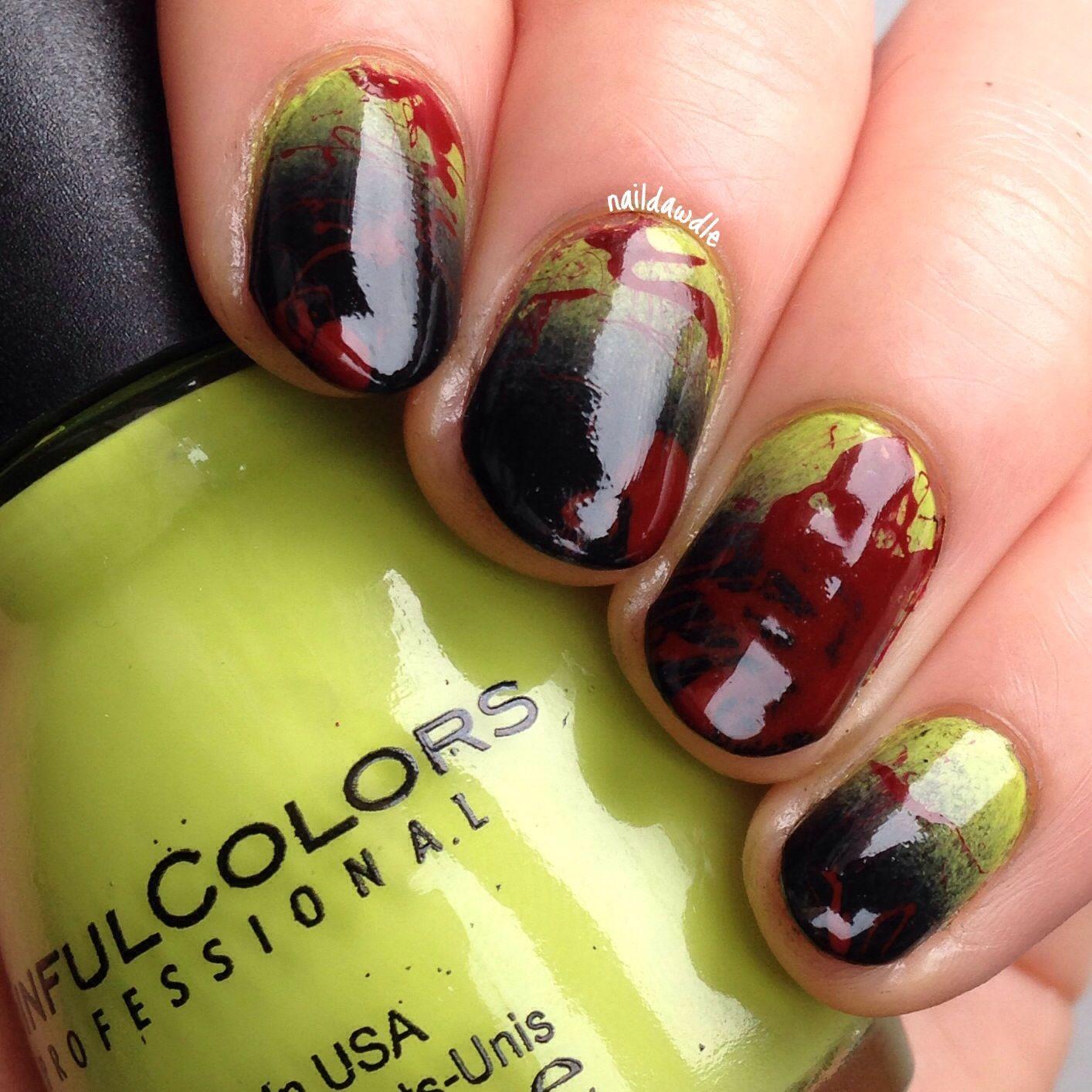 zombie blood splatter nails