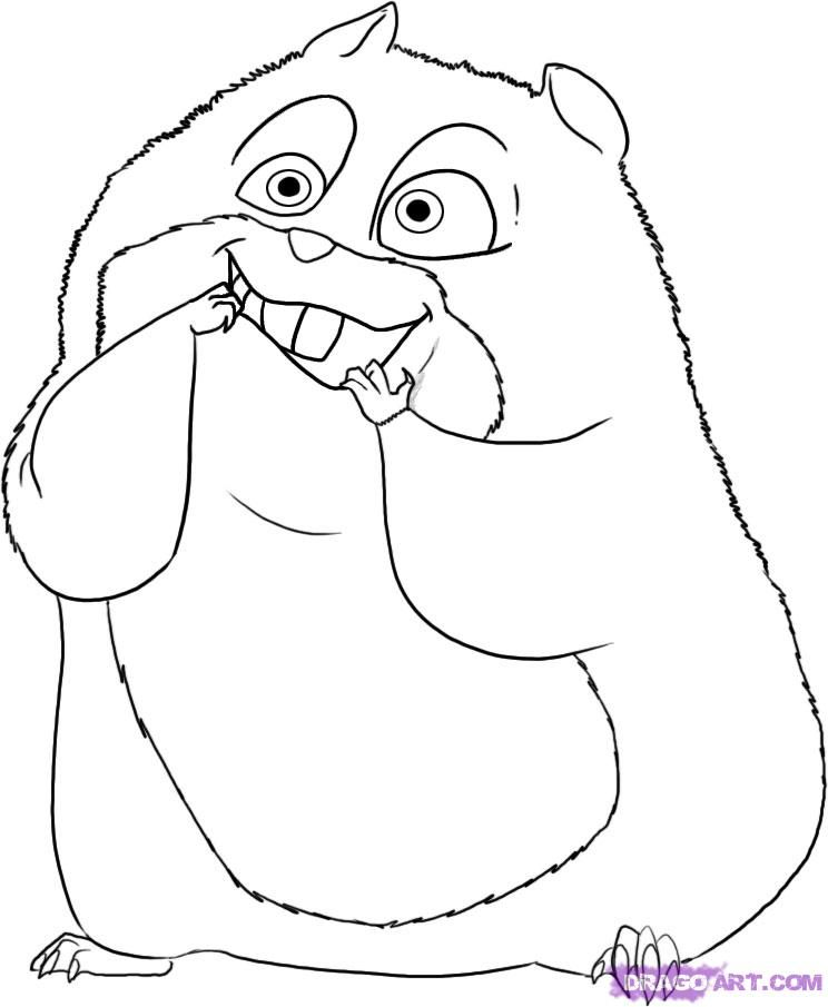 How To Draw Rhino The Hamster From Bolt Step 5 Colouring Pages ColoringHamstersHow