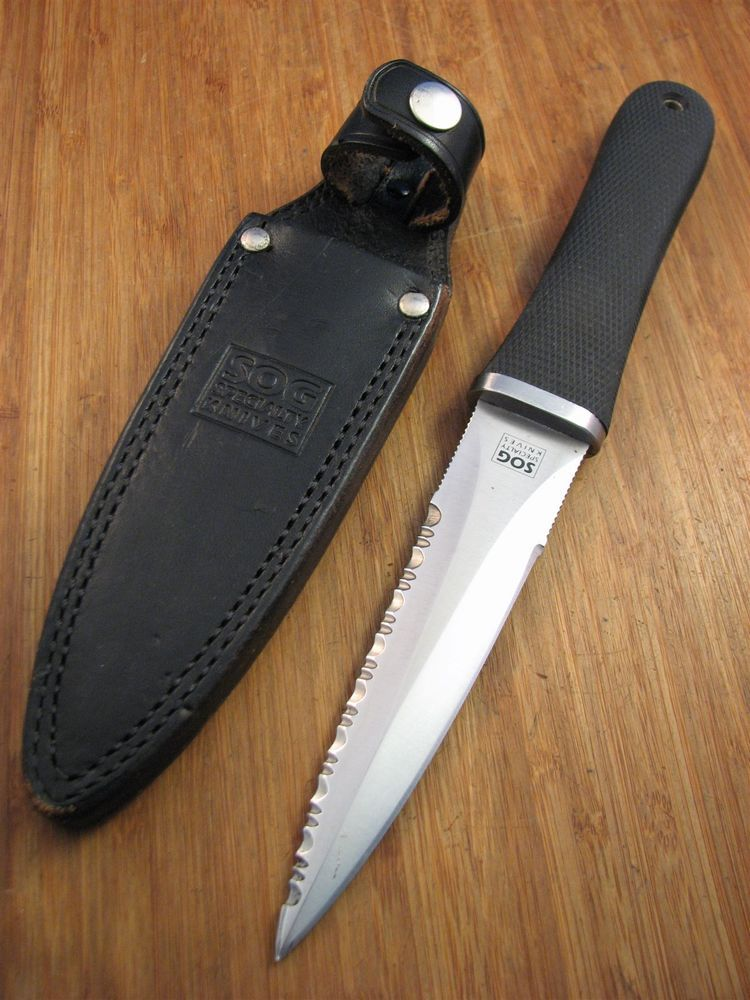 "SOG Specialty Knives Seki Japan survival Knife 9"" W/ Sheath Excellent"