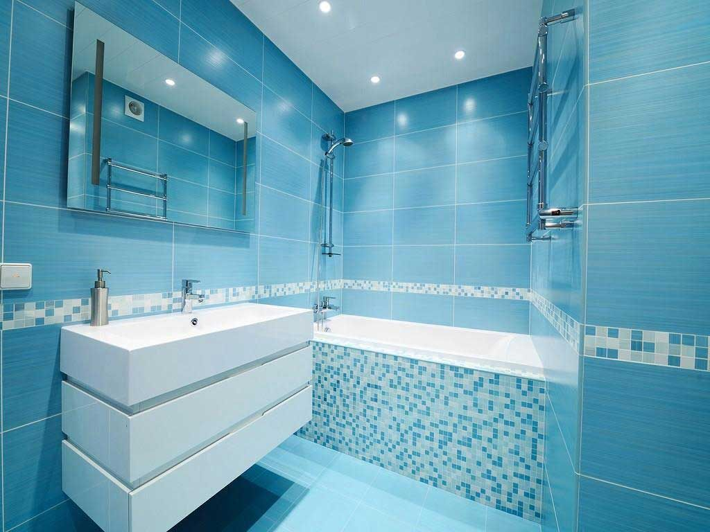 Bathroom Blue Wall Tile Designs Ideas with blue wall wallpaper plus ...
