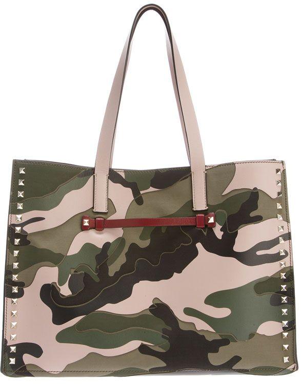Valentino Rockstud Camouflage Shopper