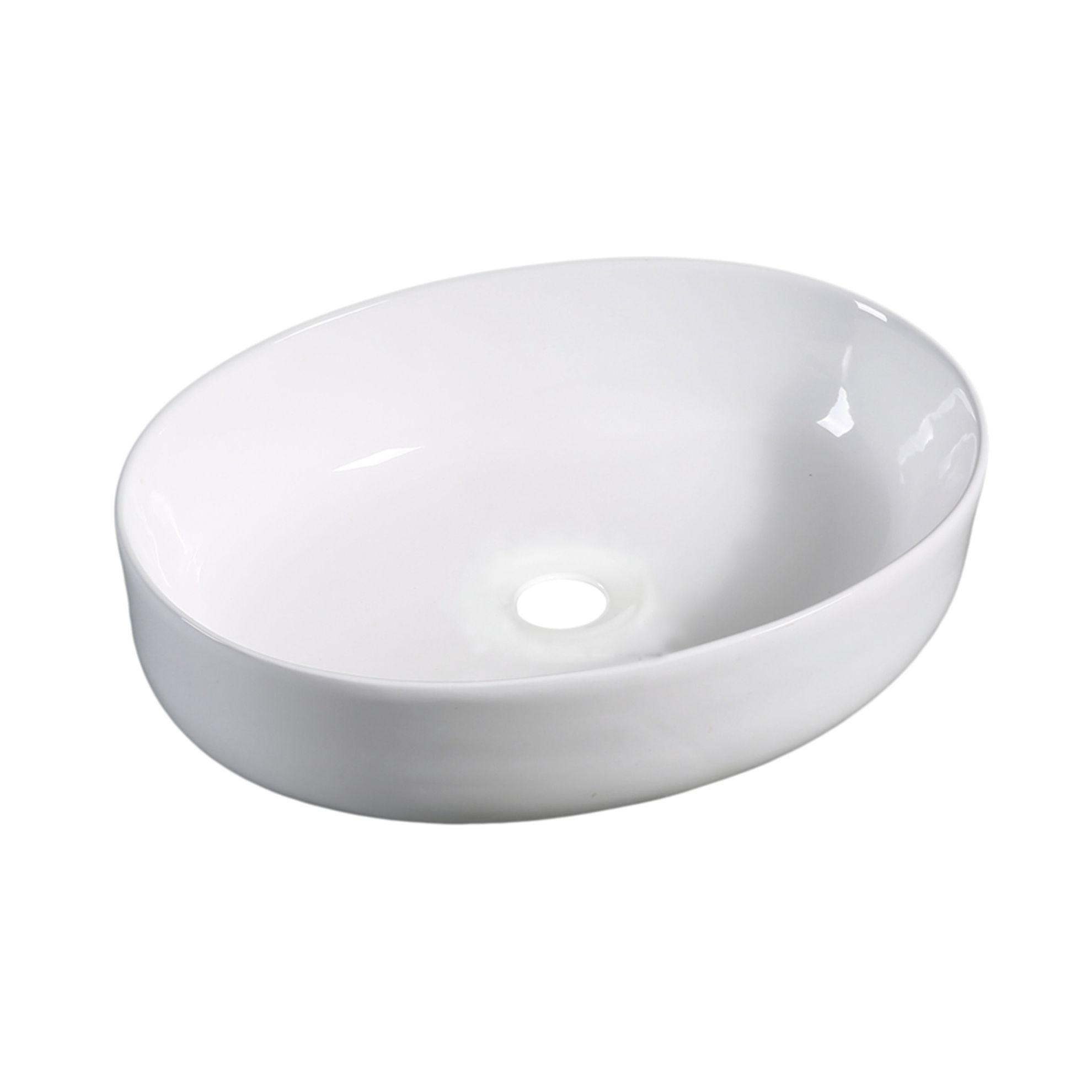 Lavabo da appoggio ovale Spadafora L 51,5 x P 38 x H 15 cm bianco ...