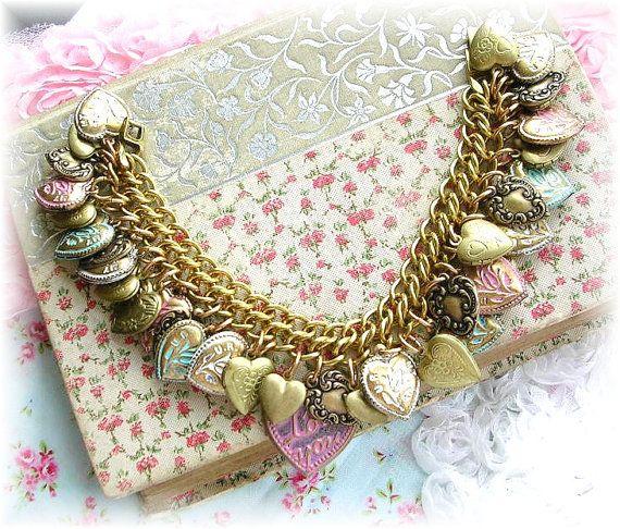 Vintage Puffy Heart Charm Bracelet Etched Floral Enamel Pastels U R My Rose Flower Lockets