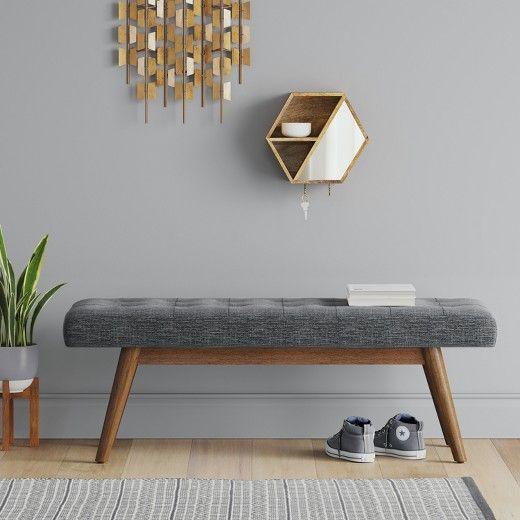 Copan Mid Century Bench Dark Gray Project 62 Mid Century Bench Home Decor Furniture