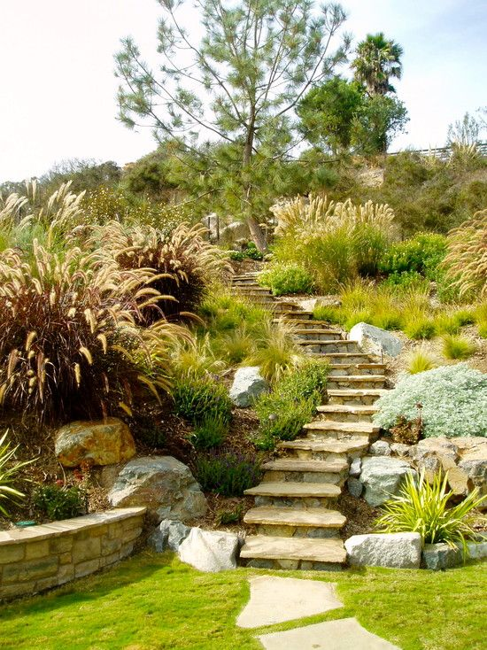 Garten am hang  Landscape Hillside Design - like the curved steps coming down and ...