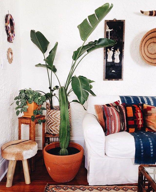 Woonkamer: Mooie basis met bohemian/southwestern decor en planten.