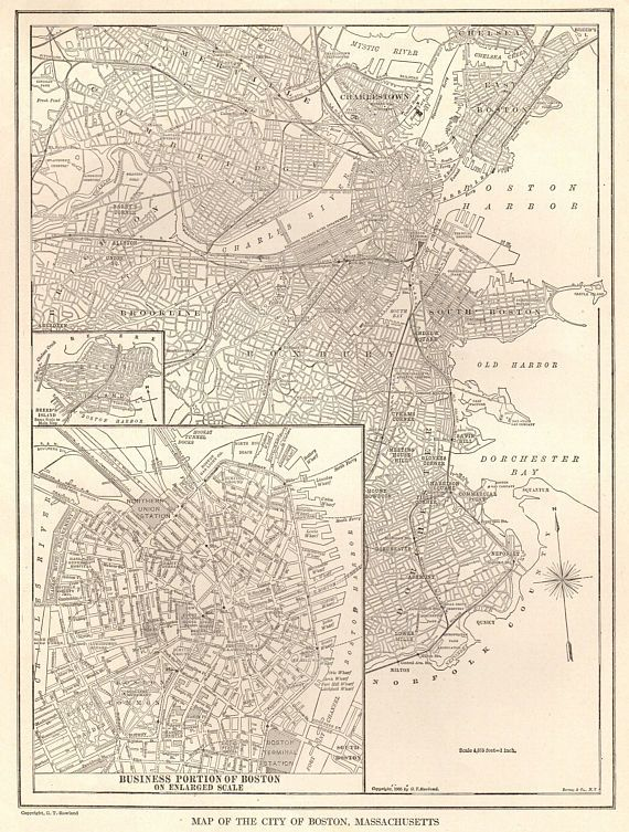 1923 Antique BOSTON Map Black and White Map of Boston | pink and ...