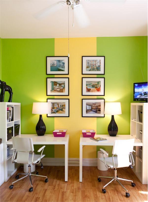 2 arbeitspl tze durch farbe voneinander abgrenzen kolorat arbeitszimmer wandgestaltung. Black Bedroom Furniture Sets. Home Design Ideas