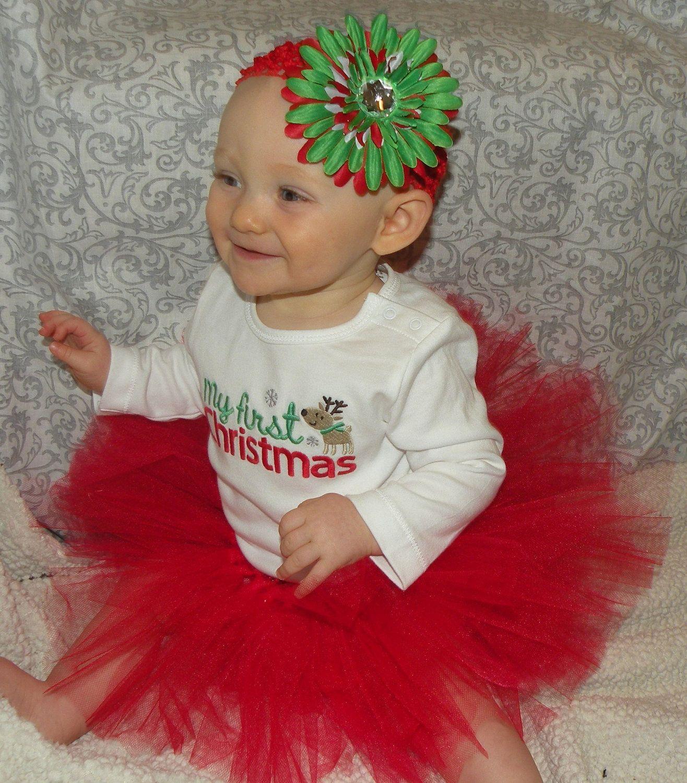 First Christmas OUTFit newborn 12 month by LittleGraceBowtique $