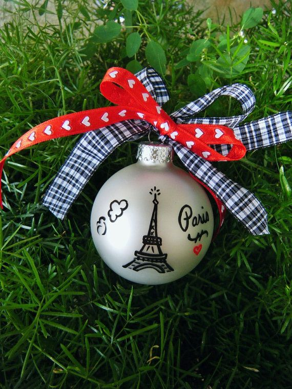 Hand Painted Paris Ornament Personalized by BrushStrokeOrnaments