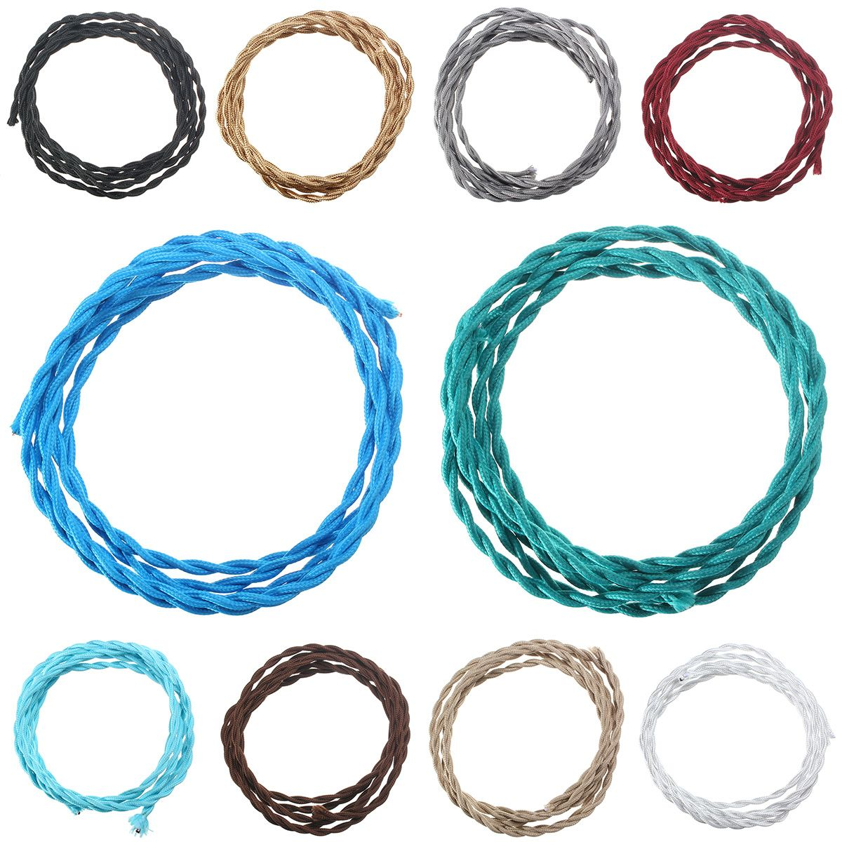 3M Vintage 2 Core Twist Braided Fabric Cable Wire Electric Lighting ...
