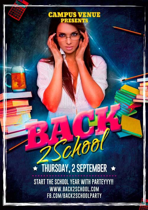 Free Back To School Party PSD Flyer Template from http\/\/www - microsoft flyer templates free download