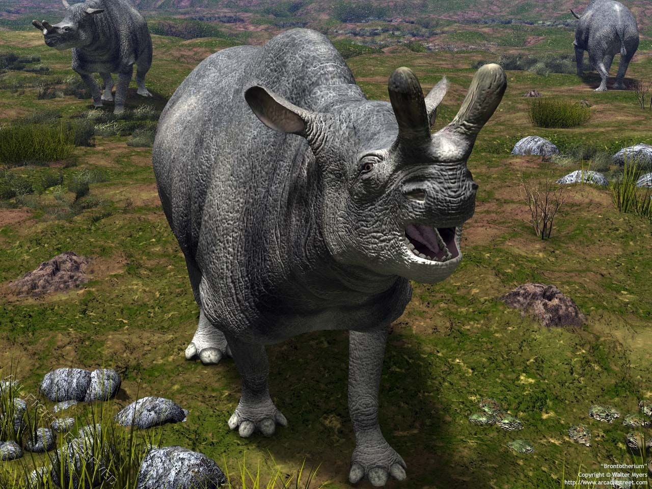 Cenozoic Earth - Brontotherium portrait;// megafauna ...
