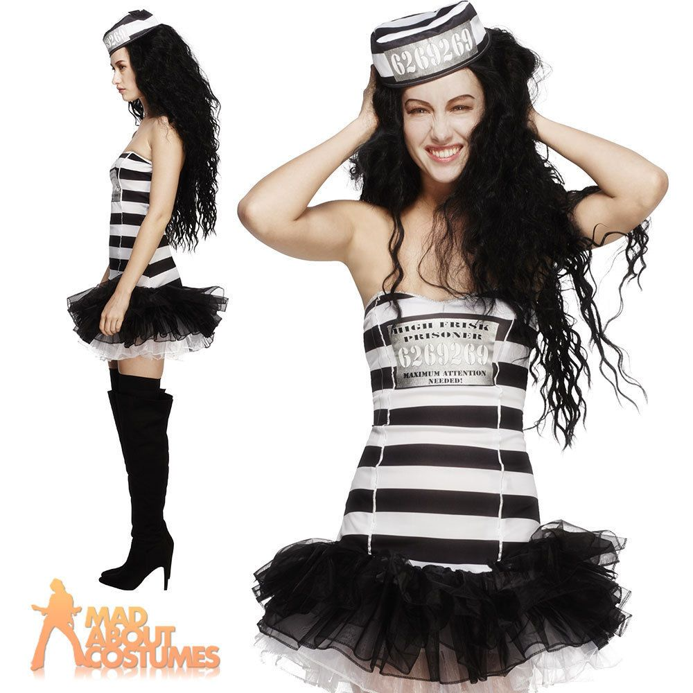 Details about Ladies Fever Convict Cutie Costume Inmate Prisoner Fancy Dress Outfit New  sc 1 st  Pinterest & Details about Ladies Fever Convict Cutie Costume Inmate Prisoner ...
