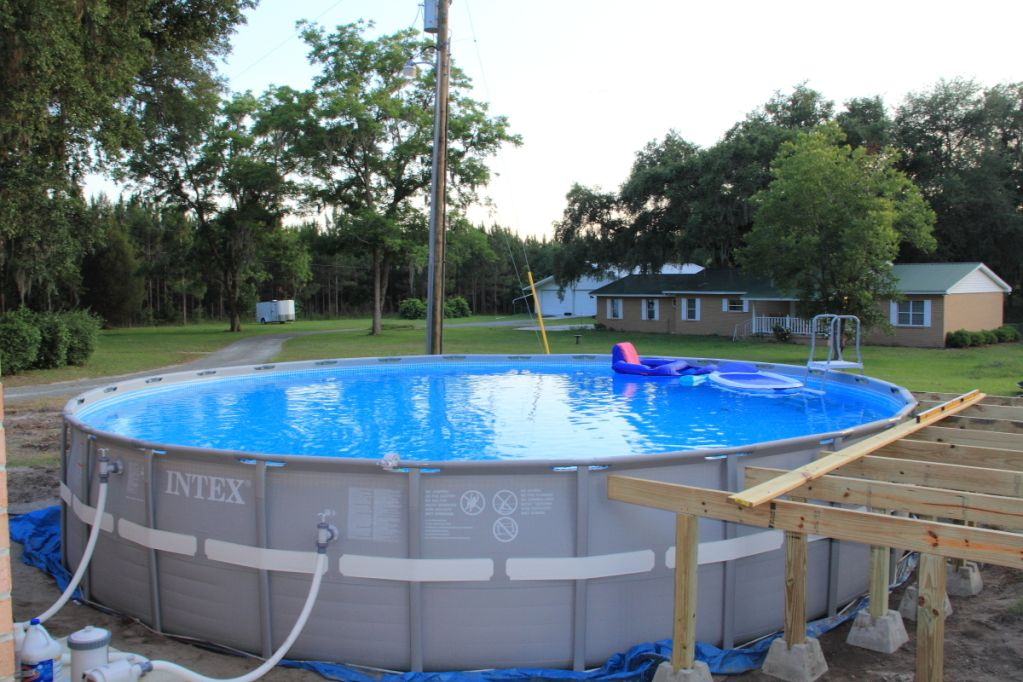 Intex Above Ground Pool Landscaping Ideas intex pool with deck | new intex 26' ultra frame owners • above
