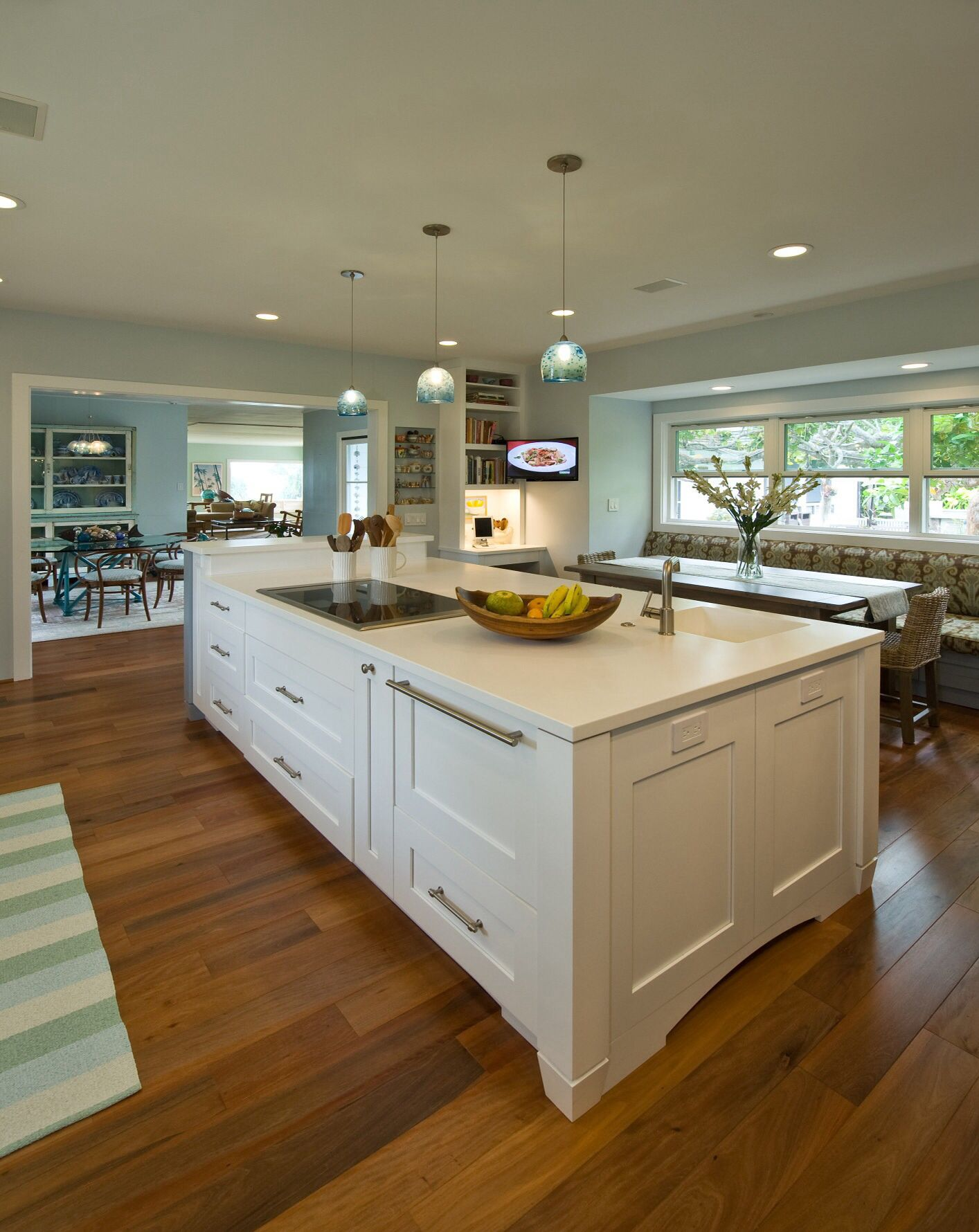 Blue and white kitchen designed by archipelago hawaii lanikai
