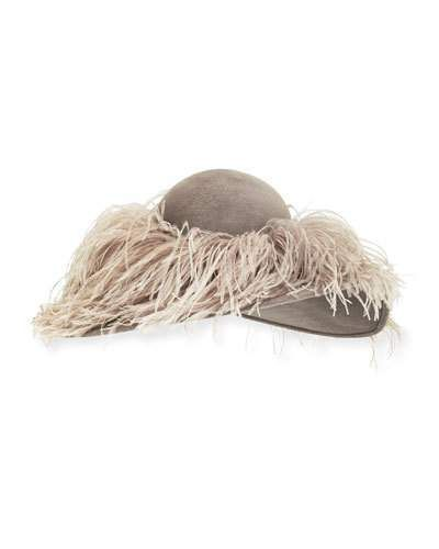 Philip Treacy Structured Wave Feather Hat, Gray