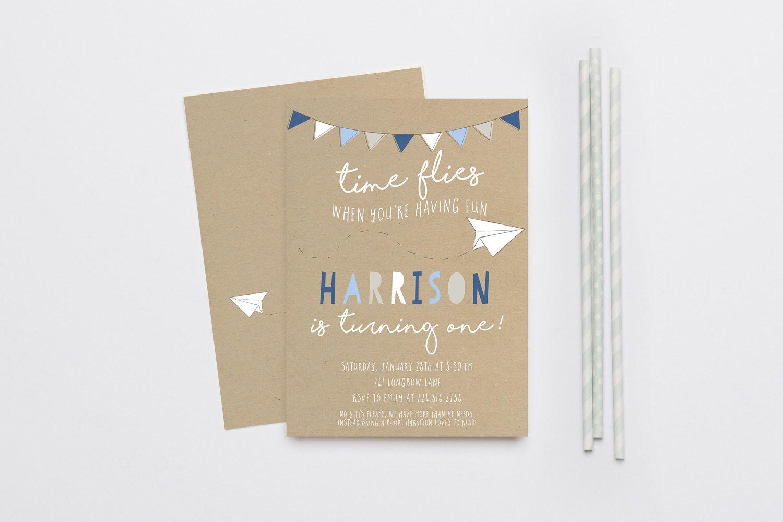 Time Flies Paper Airplane Boy Birthday Invitation, First Birthday ...