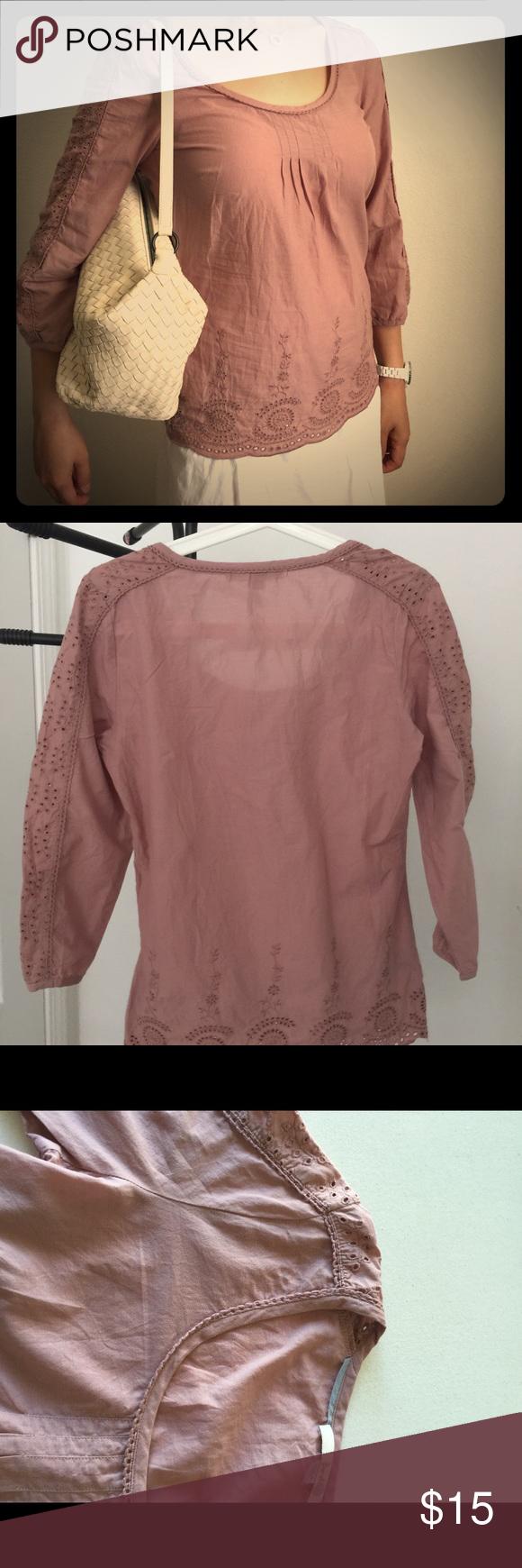 Boden Rose pink blouse Boden round neck eyelet blouse. Side zipper Boden Tops Crop Tops
