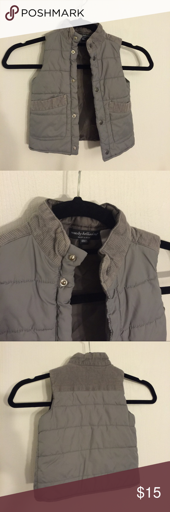 Gray Puffer Vest So in love. Wendy Bellissimo puffer vest with corduroy details and pockets. Snap button closure. Excellent used condition. Looks new. Size 18 months. Wendy Bellissimo Jackets & Coats Vests