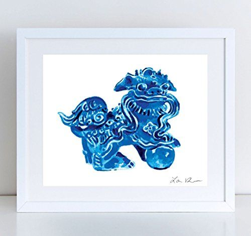 Foo Dog Blue Ceramic China - Giclee Print of Watercolor - 8 x 10, 11 x 14 inches Fine Art Poster Fu Lion Japan Bookends Asian Decor Porcelain Chinoiserie Chinese Antique Ming Vase *** Visit the image link more details.